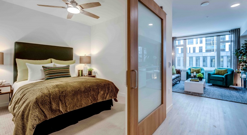 Bedroom with sliding door