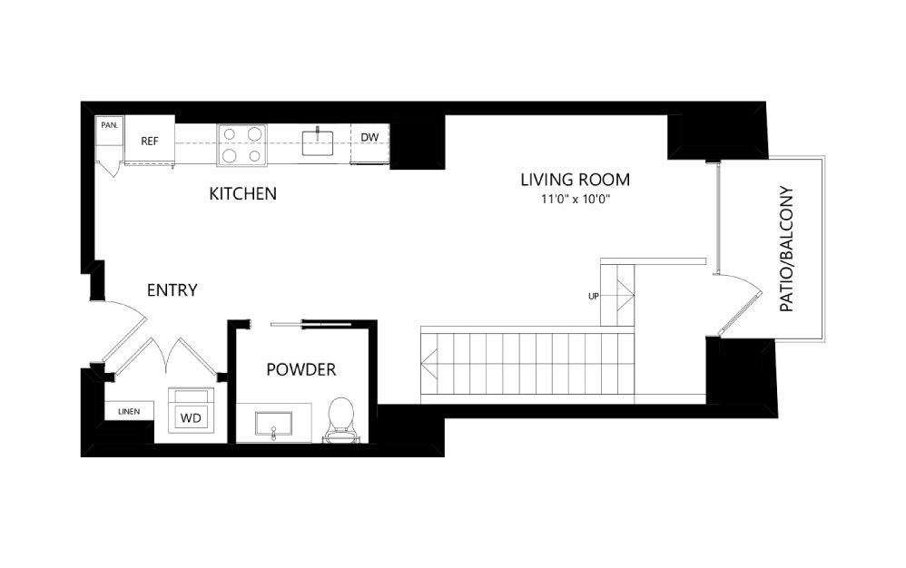 MR-E02-1FL - Studio floorplan layout with 1.5 bath and 802 square feet. (Floor 1)