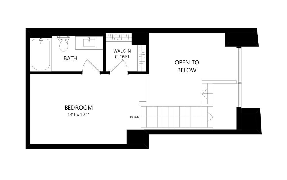 MR-E02-1FL - Studio floorplan layout with 1.5 bath and 802 square feet. (Floor 2)
