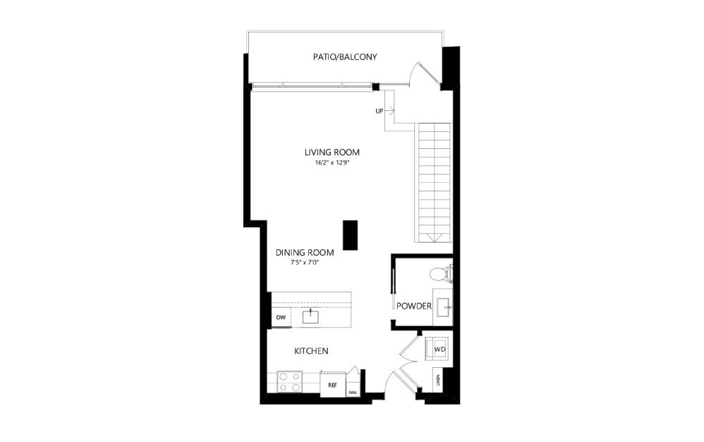 MR-E03-1FL - Studio floorplan layout with 1.5 bath and 951 square feet. (Floor 1)