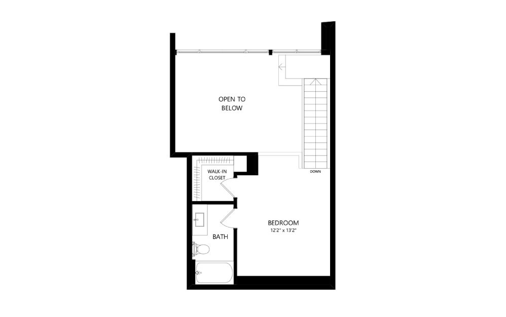 MR-E03-1FL - Studio floorplan layout with 1.5 bath and 951 square feet. (Floor 2)