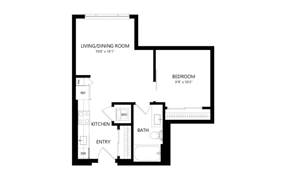 MR-A01 - Studio floorplan layout with 1 bath and 534 square feet.