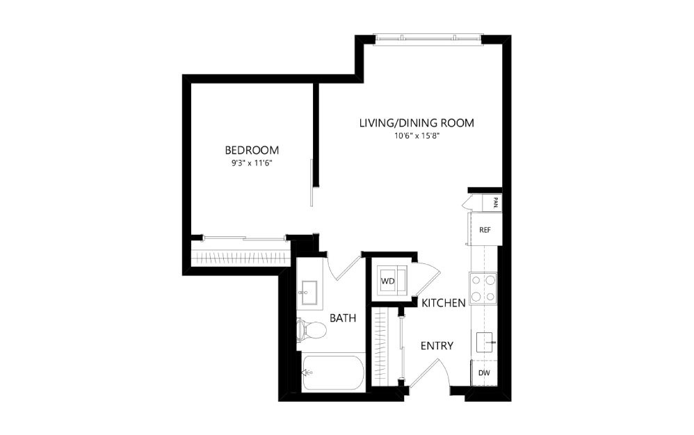 MR-A01c - Studio floorplan layout with 1 bath and 555 square feet.
