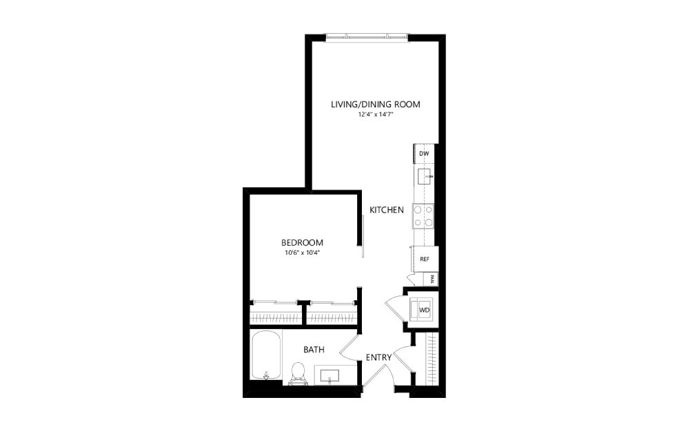 MR-A02 - Studio floorplan layout with 1 bath and 583 square feet.