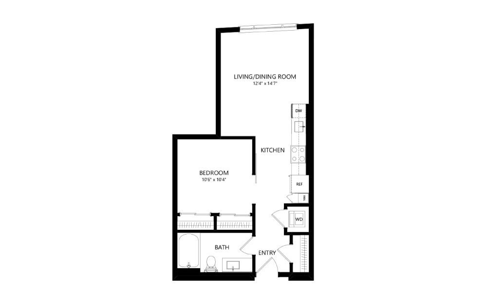MR-A02a - Studio floorplan layout with 1 bath and 572 square feet.