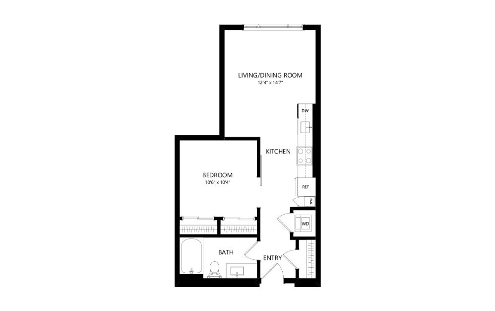 MR-A02b - Studio floorplan layout with 1 bath and 565 square feet.