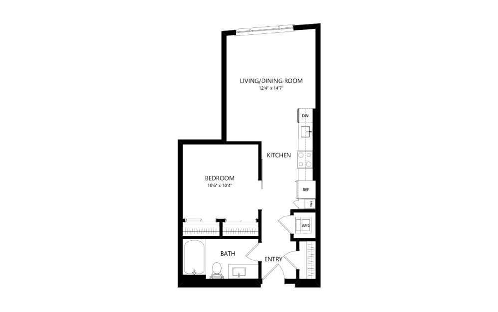 MR-A02c - Studio floorplan layout with 1 bath and 582 square feet.