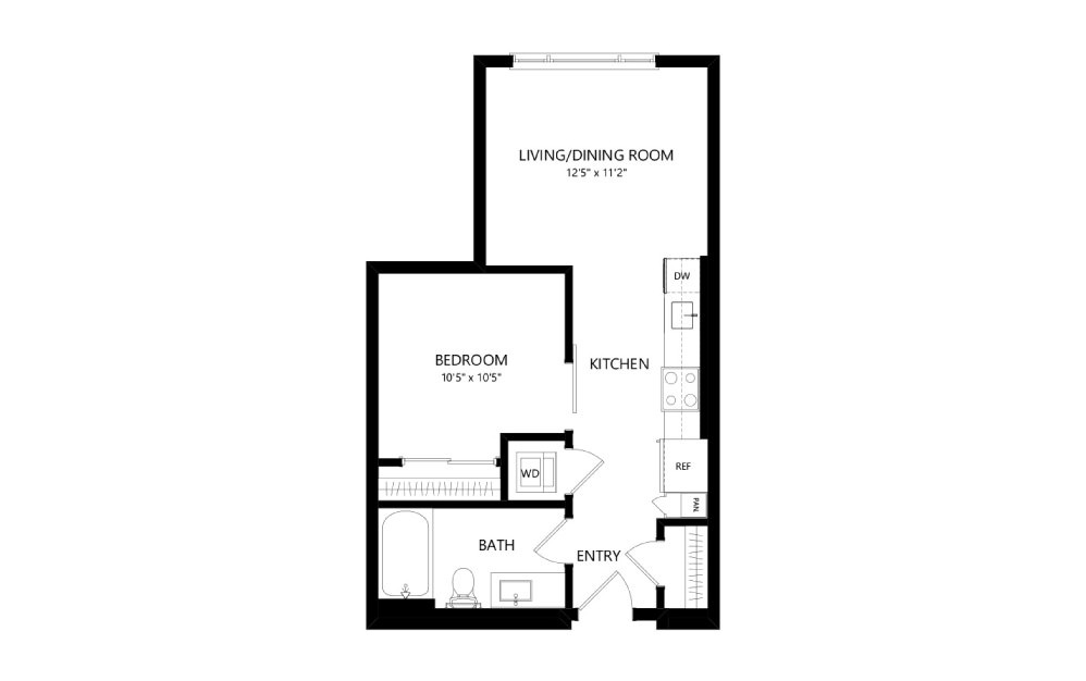 MR-A02d - Studio floorplan layout with 1 bath and 532 square feet.
