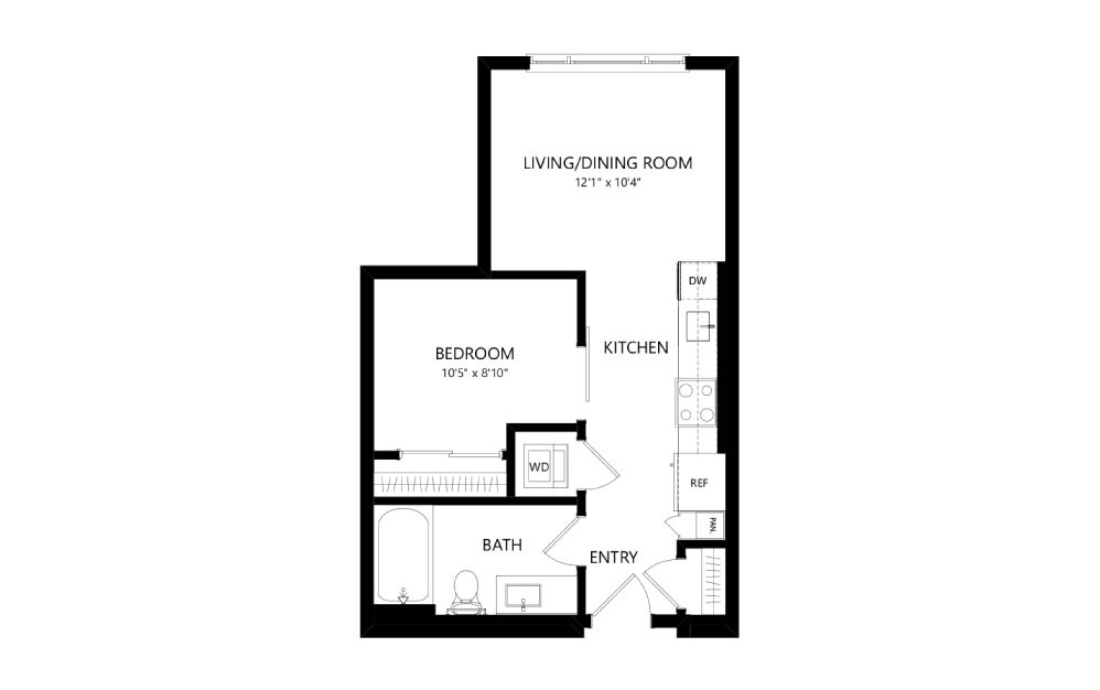 MR-A02e - Studio floorplan layout with 1 bath and 499 square feet.
