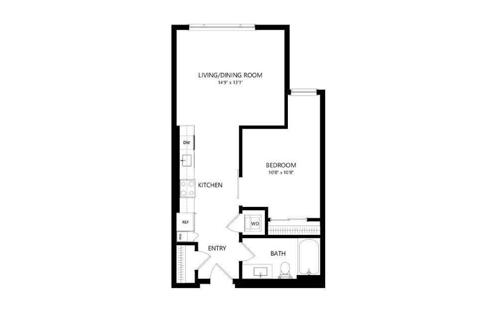 MR-A02i - Studio floorplan layout with 1 bath and 666 square feet.