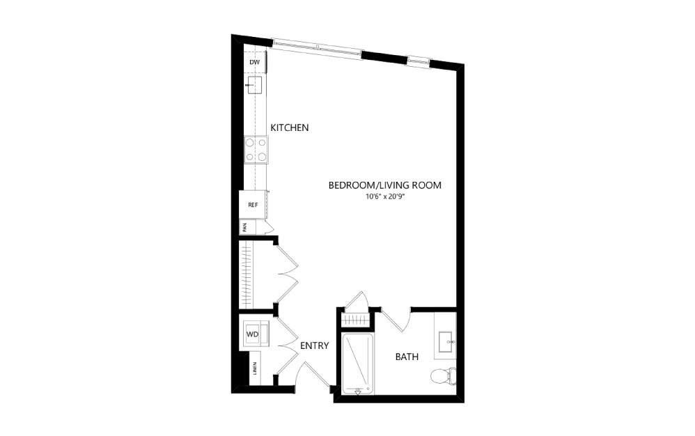 MR-A03-TYPE-A - Studio floorplan layout with 1 bath and 620 square feet.