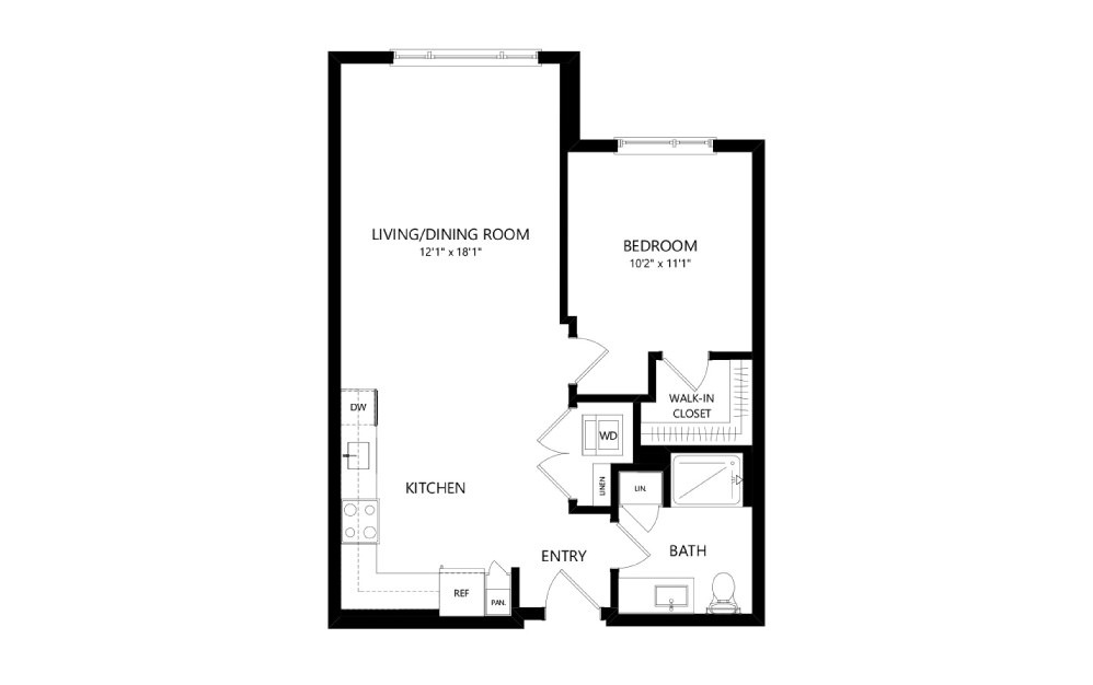 MR-B01 - 1 bedroom floorplan layout with 1 bath and 695 square feet.