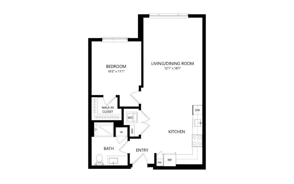 MR-B01a - 1 bedroom floorplan layout with 1 bath and 713 square feet.