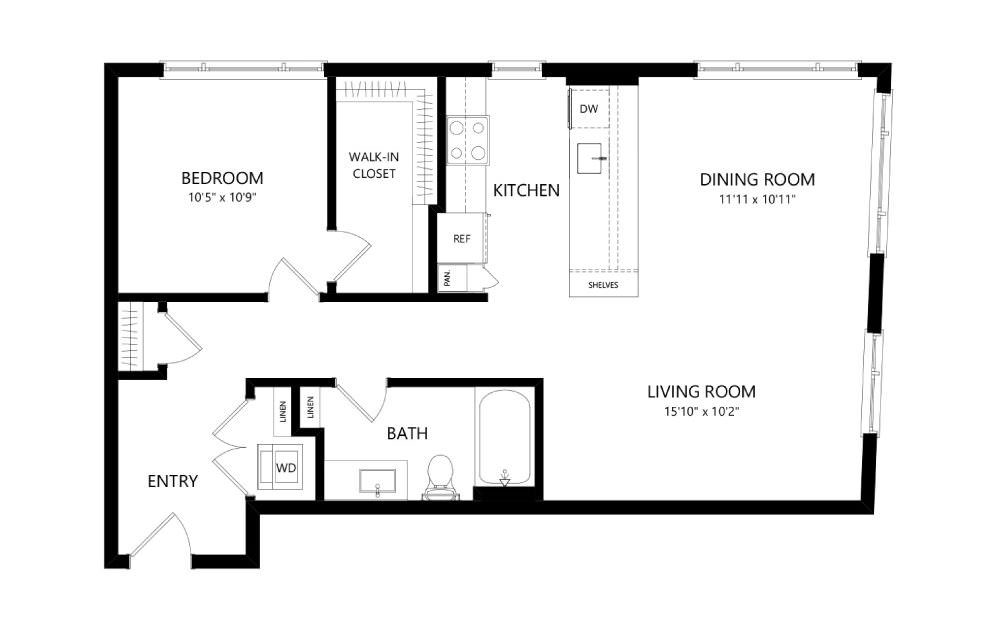 MR-B02 - 1 bedroom floorplan layout with 1 bath and 875 square feet.