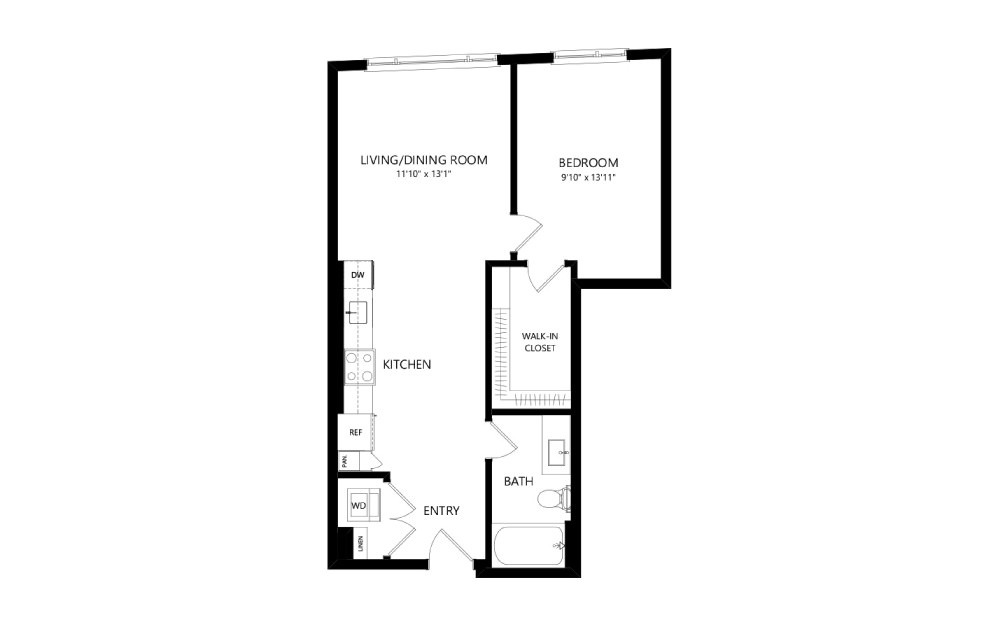 MR-B03a - 1 bedroom floorplan layout with 1 bath and 664 square feet.