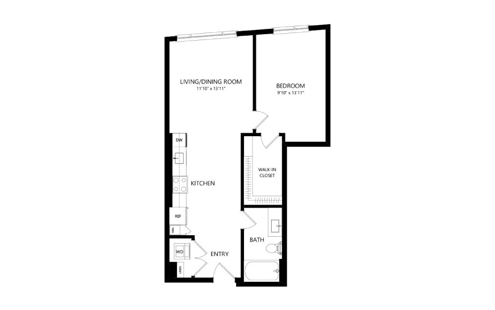 MR-B03b - 1 bedroom floorplan layout with 1 bath and 660 square feet.