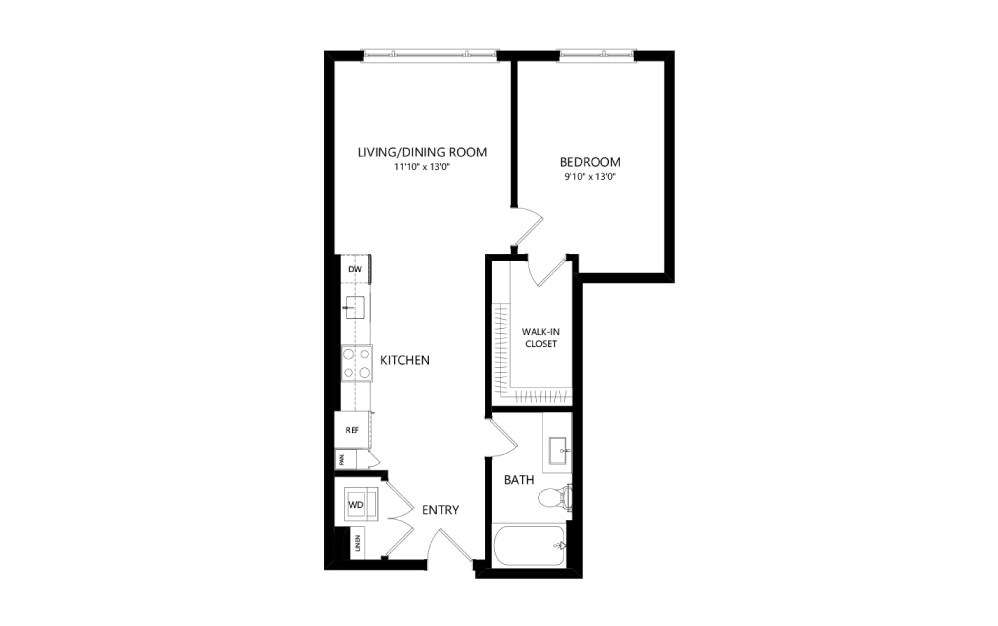 MR-B03c - 1 bedroom floorplan layout with 1 bath and 672 square feet.
