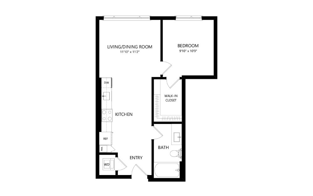 MR-B03d - 1 bedroom floorplan layout with 1 bath and 601 square feet.