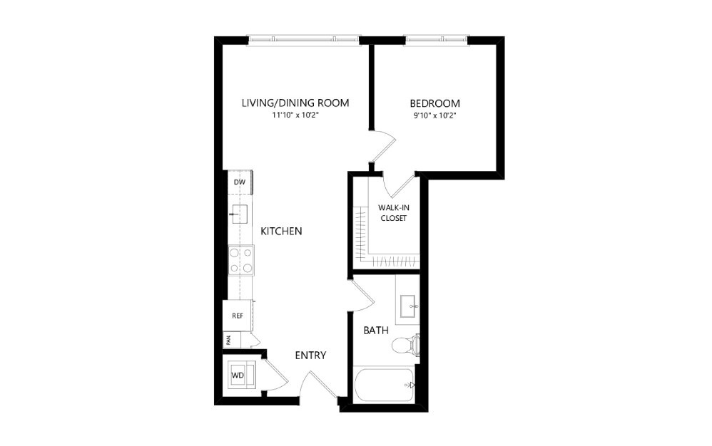 MR-B03e - 1 bedroom floorplan layout with 1 bath and 570 square feet.
