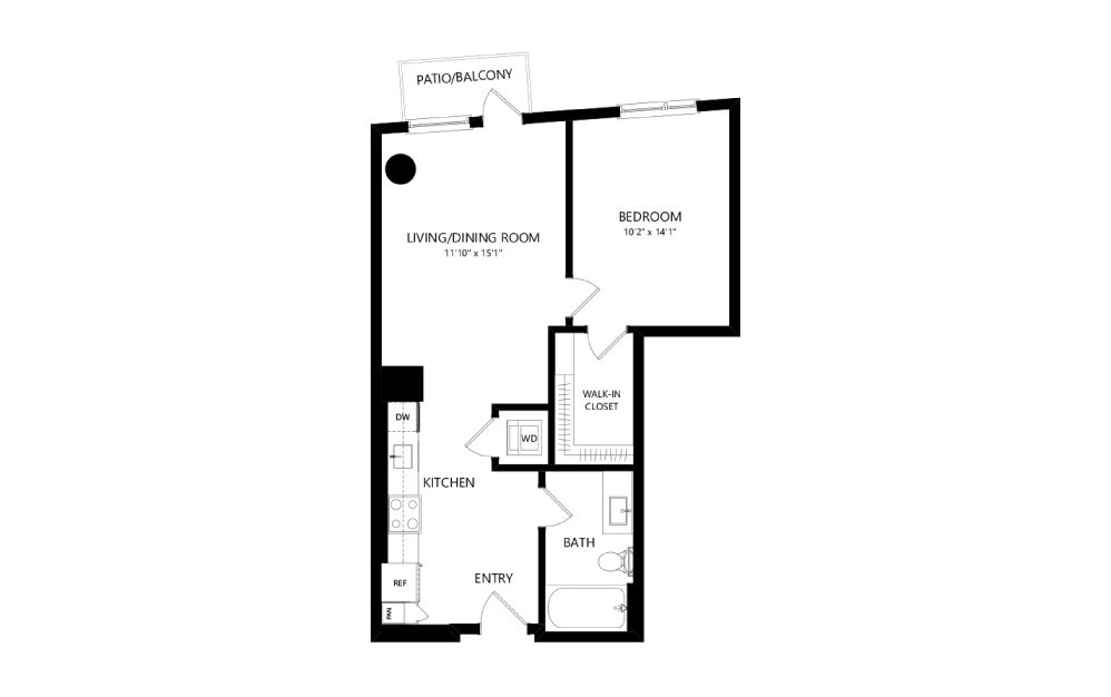 MR-B03g - 1 bedroom floorplan layout with 1 bath and 659 square feet.