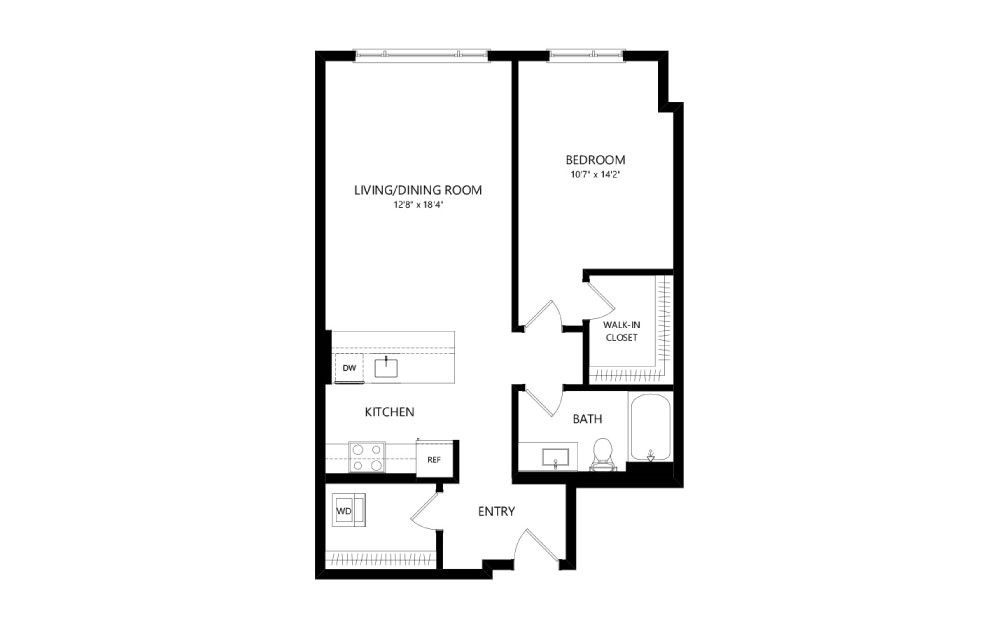 MR-B04 - 1 bedroom floorplan layout with 1 bath and 805 square feet.