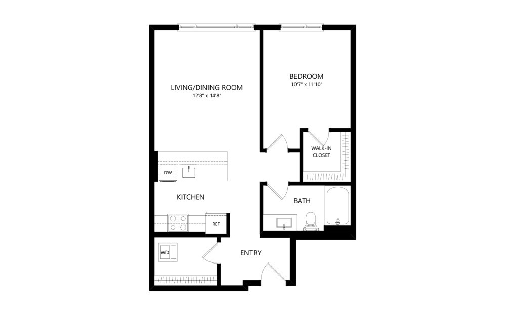 MR-B04a - 1 bedroom floorplan layout with 1 bath and 716 square feet.
