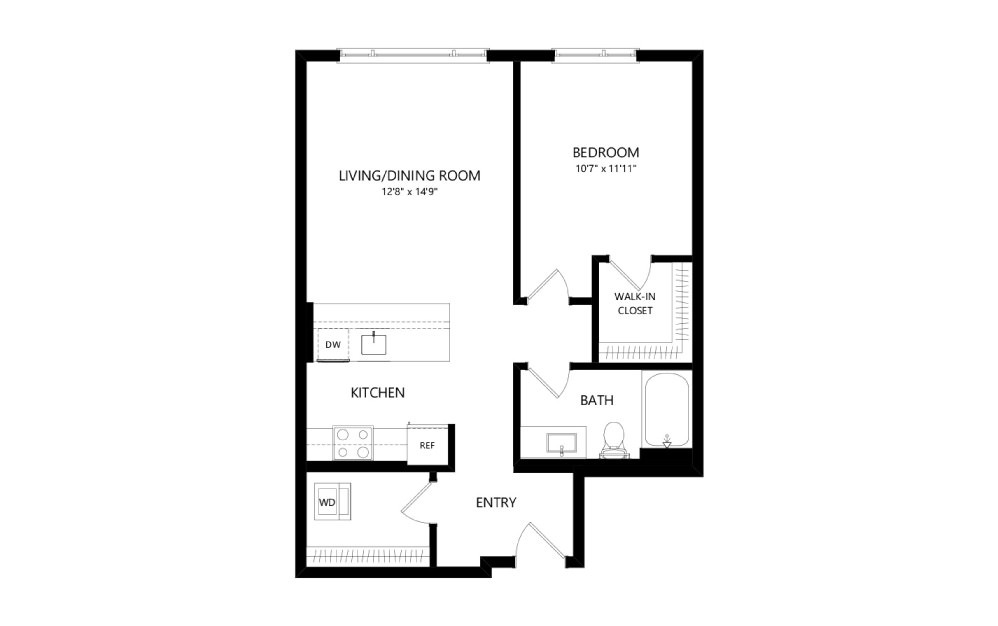 MR-B04b - 1 bedroom floorplan layout with 1 bath and 715 square feet.