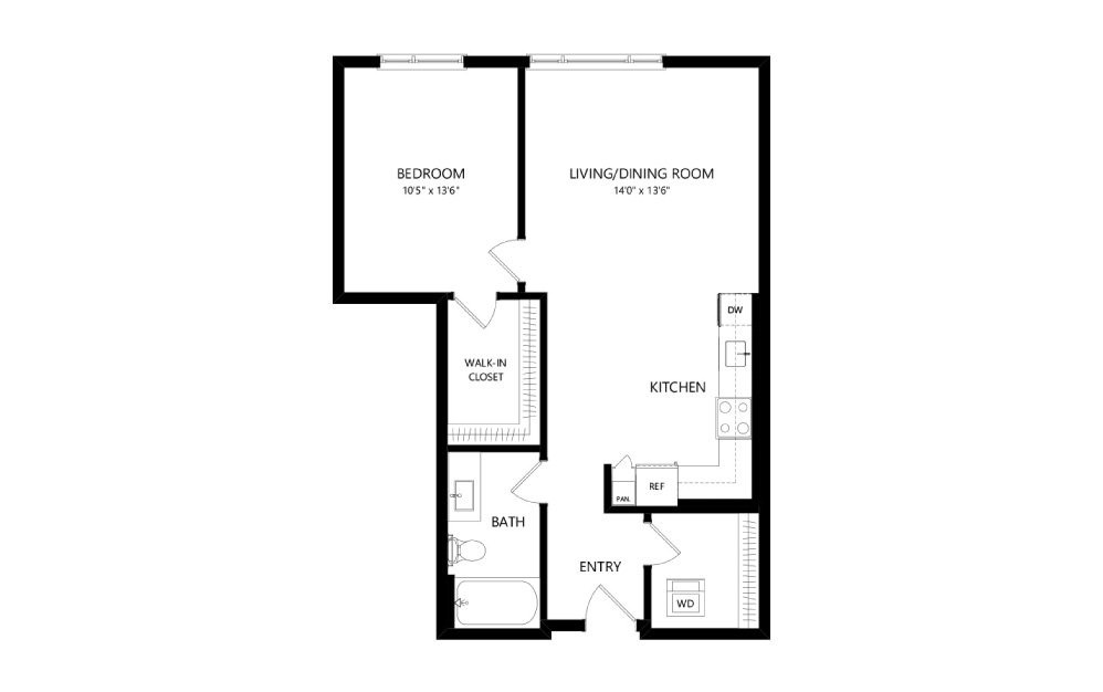 MR-B05 - 1 bedroom floorplan layout with 1 bath and 753 square feet.