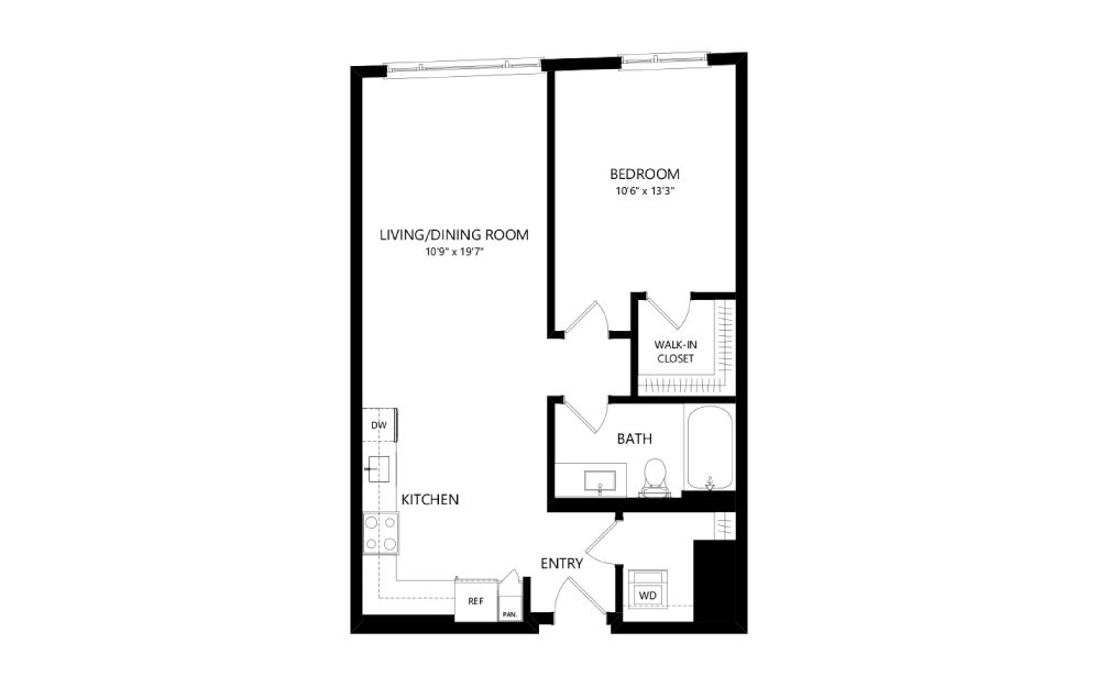 MR-B06a - 1 bedroom floorplan layout with 1 bath and 746 square feet.