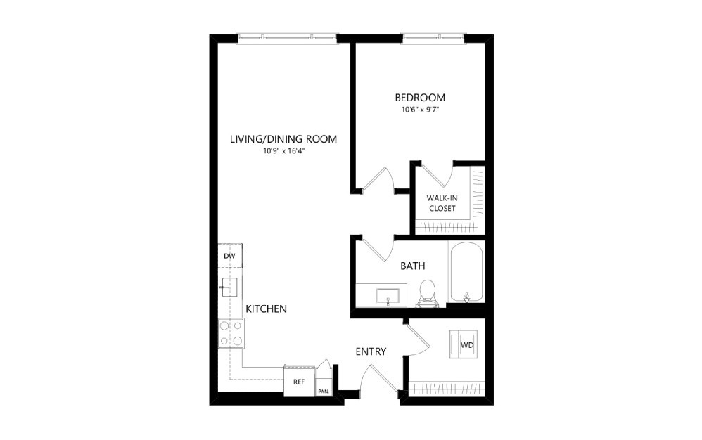 MR-B06b - 1 bedroom floorplan layout with 1 bath and 678 square feet.