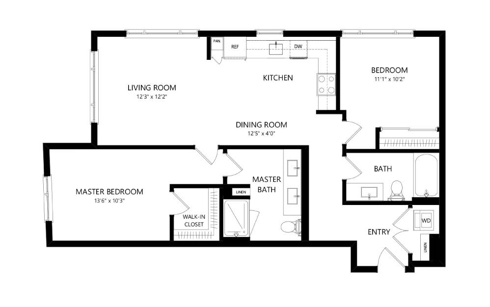 MR-C01 - 2 bedroom floorplan layout with 2 baths and 1028 square feet.