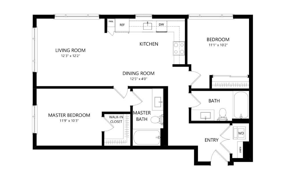 MR-C01a - 2 bedroom floorplan layout with 2 baths and 965 square feet.