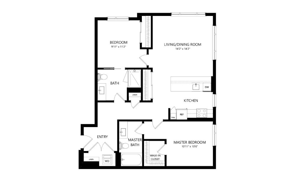 MR-C02 - 2 bedroom floorplan layout with 2 baths and 1025 square feet.