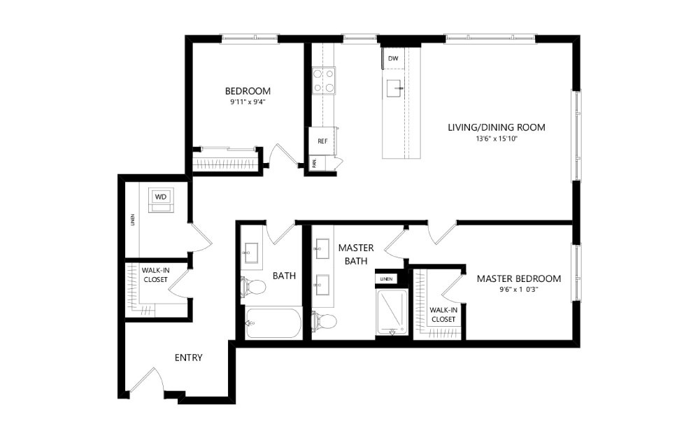 MR-C03a - 2 bedroom floorplan layout with 2 baths and 1105 square feet.