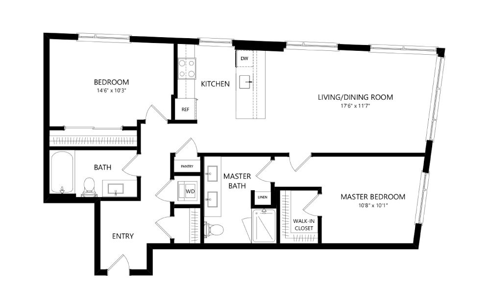 MR-C04 - 2 bedroom floorplan layout with 2 baths and 1070 square feet.